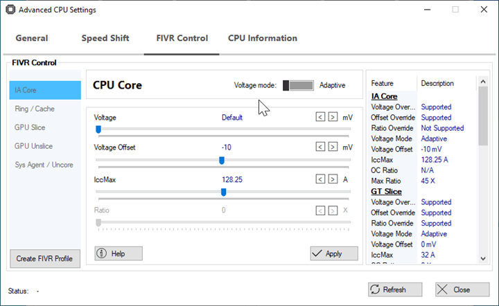 Intel Integrated Voltage Regulator settings
