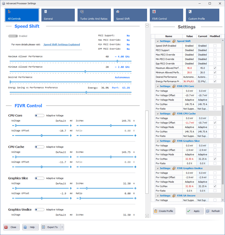 Quick CPU Advanced CPU Settings