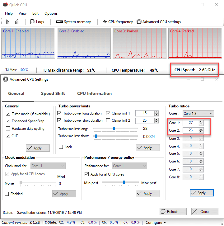 Speed Shift performance settings